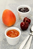 Apricot jam and cherry jam