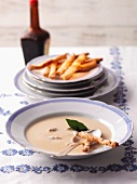 Broth with cheese sticks
