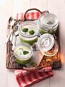 Pea soup in jars