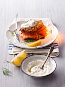 A potato cake and salmon sandwich