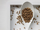 Coriander seeds on a spoon