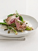 Land and Sea with spring onions and tuna