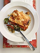 Vegetable lasagne with pepper and broccoli