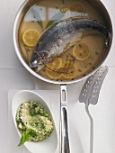 Blue trout with herb risotto