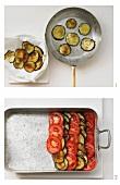 Vegetable bake being made