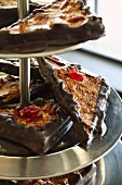 Oat triangles with chocolate and candied fruits