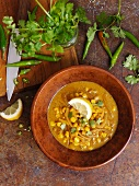 Corn soup with chilli and coriander (seen from above)