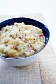 Creamy Potato Salad on Lettuce Bed; Fork