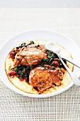 Balsamic Braised Chicken with Greens Over Polenta