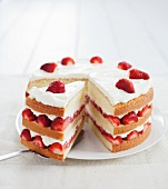 Layered Strawberry and Cream Cake; Slice Removed