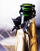 An open champagne bottle