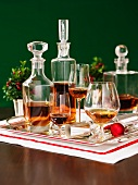 Various types of brandy on a tray