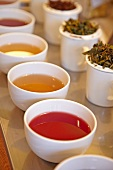 Various types of tea in bowls