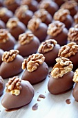 Chocolate eggs with walnuts
