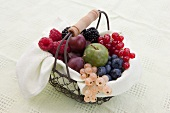 A basket of fruit with berries and greengages