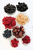 Various berries in a glass bowls