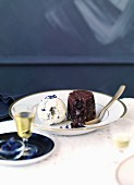 Chocolate-violet fondant with creme fraiche ice-cream