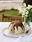 Christmas pudding ice cream with chocolate topping