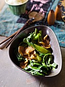 Asian vegetables with oyster mushrooms