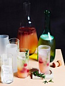 Cocktails with gin, honey, naked barley and raspberries