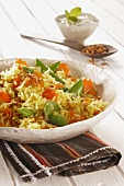 Saffron rice with vegetables and pine nuts