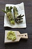 Wasabi and a grater on whale skin