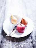A pear and an apple