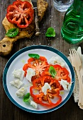 Insalata caprese (Buffalo Heart tomatoes with mozzarella, Italy)