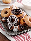 Assortment of Baked Donuts on a Silver Tray