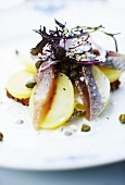Black bread with potatoes, anchovies, capers and red onions