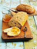 Fruit bread with jam and sunflower seed bread