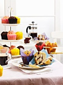 Muffins and cupcakes on a breakfast buffet