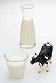 Milk in a glass and a carafe and a cow figurine