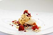Hazelnut dessert with vanilla ice cream and raspberries