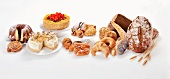 An arrangement of cakes, pastries and bread