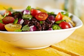 Fresh Tomato, Jalapeno and Black Bean Salad in a White Bowl