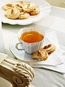 Walnut biscuits and orange tea