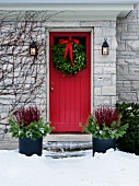 Christmas wreath on front door