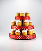 Cupcakes on a spotted cake stand