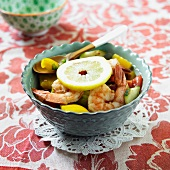 Shrimp, Yellow Peppers, Tomato, Cucumber and Lemon Gazpacho