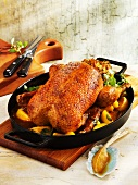 Braised Barbary duck with apples and marjoram sauce