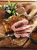 Leg of lamb stuffed with herbs