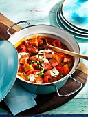 Sausage goulash with potatoes and tomatoes