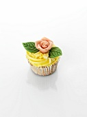 Cupcake with marzipan rose