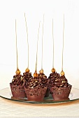 Chocolate cupcakes with caramel strands