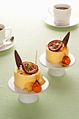 Passion fruit mousse with physalis