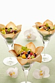 Fruit salad in wafer petals