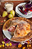 Pear pie with walnuts and honey
