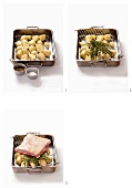 Pork belly with roast potatoes being prepared