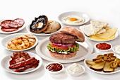 Hamburger with various ingredients